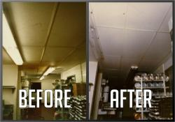 Ceiling Cleaaning and Restoration Before and After Picture of ceiling restoration for a Restaurant.
