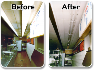 Ceiling Cleaning Before and After Picture of a Restaurant where the ceilings, walls and lights were cleaned.