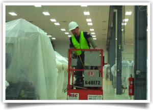 Our High Reach technicians can handle your high to reach acoustical ceiling and open structures