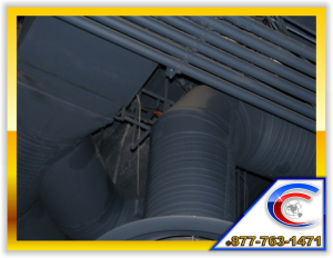 Exposed Structure Cleaning of pipes and duct work for a restaurant