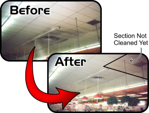 Ceiling Cleaning Before and After Photo of Supermarket Ceiling Cleaning