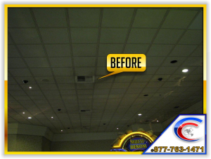 Cleaning acoustical ceilings in a Casino - this is the before picture.