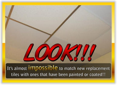 You will never match coated/painted tiles to new ceiling tiles manufactured by the ceiling tile manufacturers.