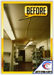 Acoustical Ceiling Restoration in a Kitchen - this is the Before picture.
