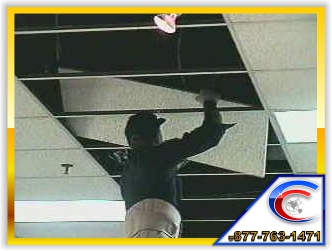 Our technicians can replace move your ceiling tiles to make your location look uniformed.