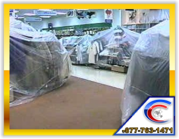 We carefully cover up the merchandise and protect your area.