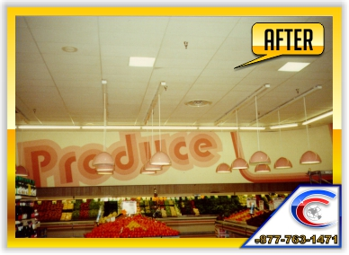 Acoustical Ceiling Restoration in a Supermarket - this is the After picture.