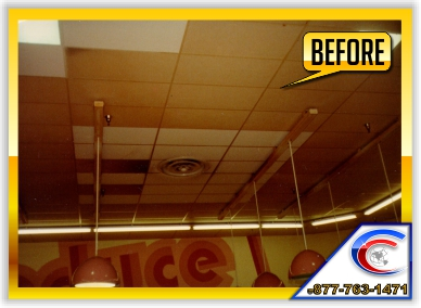 Acoustical Ceiling Restoration in a Supermarket - this is the Before picture.