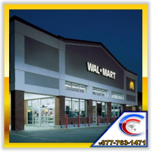 Cleaning Exposed Overhead Structures at Walmart Stores
