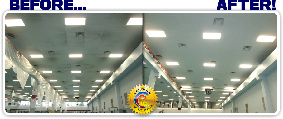 Ceiling Cleaning In Chicago, IL for a Manufacture that had very expensive Clean Room tile