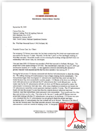 CD Barnes & Associates Letter of Testimony for Cleaning and Restoring acoustical ceilings at Walmart Stores.
