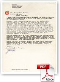Target Store Manager Letter of Testimony for Cleaning and Restoring acoustical ceilings.