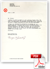 Target Store Regional Facility Services Letter of Testimony for Cleaning and Restoring acoustical ceilings.